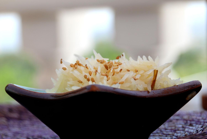 arroz basmati sazonado con berenjena