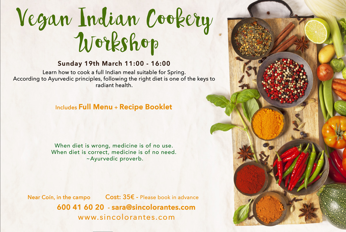 indian cooking workshop coin, indian cooking workshop malaga, vegan cooking workshop, ayurveda cooking workshop, vata cooking workshop, indian vegan cooking workshop, vegan cooking